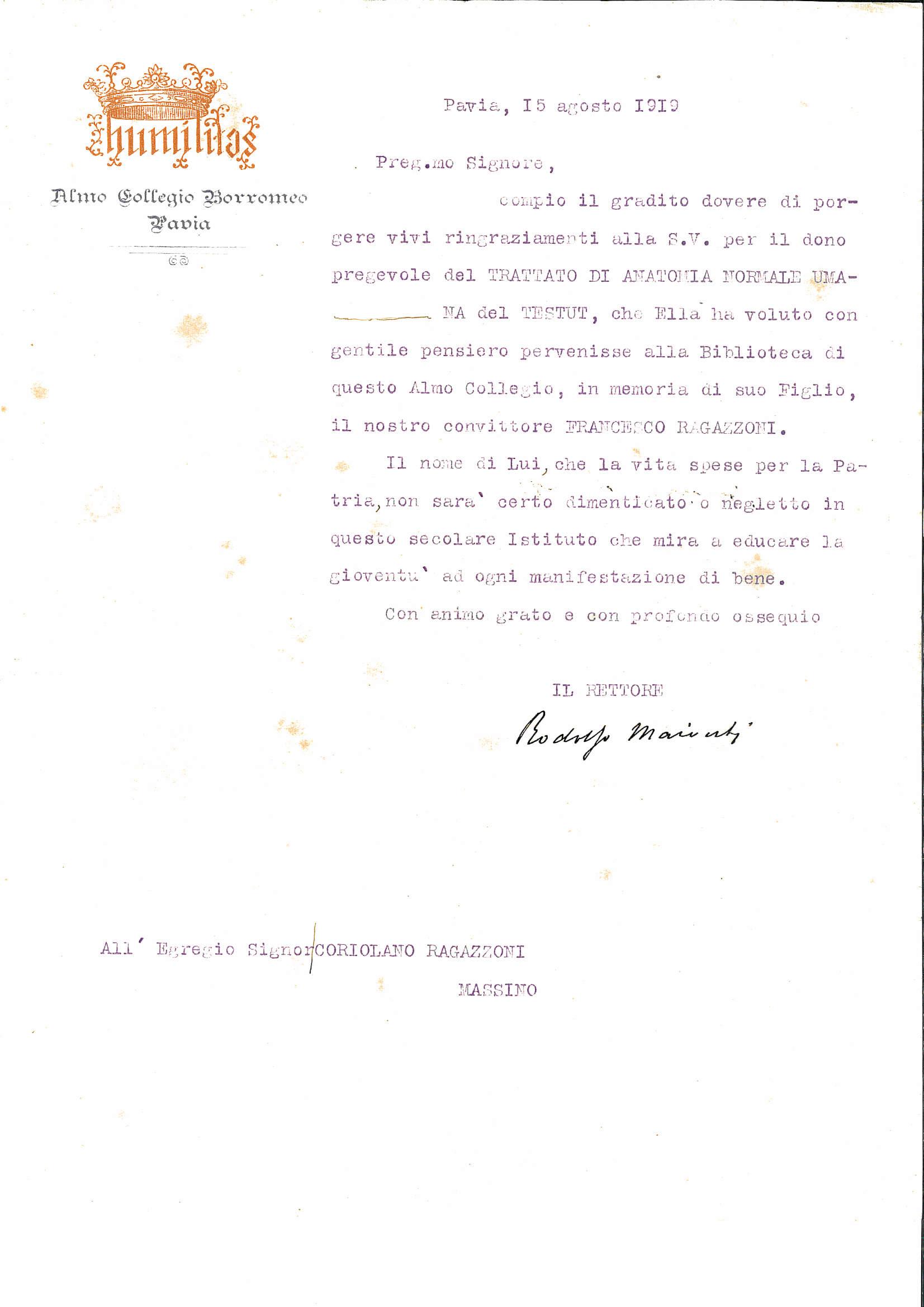 Almo Collegio Borromeo Pavia Spigolature D Archivio